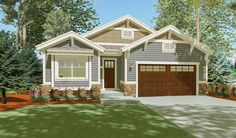 Three gables and a front-facing garage greet you to this bungalow house plan. - House Plans, Home Plan Designs, Floor Plans and Blueprints