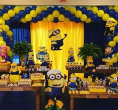 Images & Ideas For Minion Birthday Themes For Boys with regard to Minion Birthday Party Decorations Minions Birthday Theme, Minion Party Theme, 5th Birthday Party Ideas, Birthday Themes For Boys, Boy Birthday Parties, Despicable Me Party, Happy Birthday, Minion Centerpieces, Minion Party Decorations