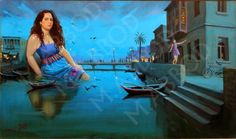 Unique Surreal Painting series By: Mahmoud Fahmi Abbod Hillah river, Khatoon and her seagulls (2014) oil on canvas 96x160cm شط الحلة، الخاتون ونوارسها زيت على القماش ----------------- محمود فهمي عبود