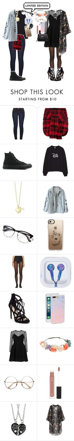 """""""The Unlikeliest of Friends"""" by sleepyfangirl ❤ liked on Polyvore featuring Dorothy Perkins, Adaptation, Converse, Lily Blanche, Casetify, Wolford, Jessica Simpson, Sonix, Sandro and Accessorize"""