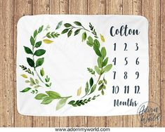 This gorgeous Monthly Milestone Blanket makes a perfect gift for a Newborn Baby or a Baby Shower Gift. Available from Adorn My World. #babyboy #Milestoneblanket #Greenleaves #babyblanket #monthblanket #monthlymilestoneblanket #babyshowergift #babyboygift #newbabygift #babyblanket #newborngift #newbabygift