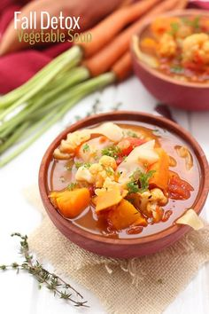 We all need a reboot every now and then so why not kickstart your clean eating this season with this Fall Detox Vegetable Soup? Made with 9 different vegetables, this soup will help you glow inside… Detox Vegetable Soup, Vegetable Recipes, Vegetarian Recipes, Healthy Recipes, Detox Soups, Soup Cleanse, Veggie Soup, Korma, Biryani