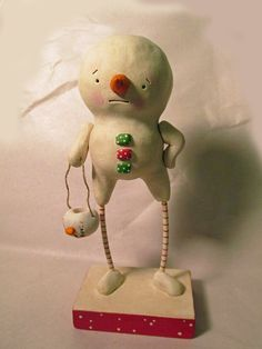 Your place to buy and sell all things handmade Christmas Snowman, Christmas Ornaments, Snowmen, Handmade Art, Candy Cane, Folk Art, Polymer Clay, Bucket, Texture
