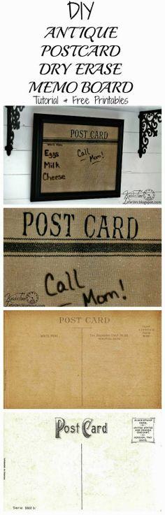 DIY Antique Postcard Image Dry Erase Board - Tutorial & Free Printable Postcards @ http://knickoftimeinteriors.blogspot.com/