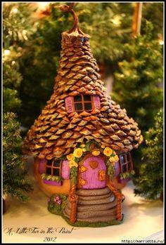 Изумительные сказочные домики из тыквы, полимерной глины и шишек (31) (471x700, 299Kb)