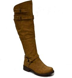 Women's Over the Knee High Boots w/ Buckle, Beige *** Discover this special boots, click the image : Over the knee boots