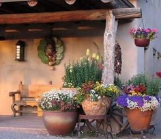 Lawn & Garden : Spanish Garden Decor Style With Log Pergola Also Clay Planters And Flowers The Spanish Style Gardens Ideas for Small Spanish House Spanish Backyard Design' Unique Garden Decor Ideas' Rustic Spanish Decor Ideas as well as Lawn & Gardens Backyard Patio, Backyard Landscaping, Backyard Ideas, Garden Ideas, Garden Boxes, Porch Ideas, Backyard Planters, Tropical Backyard, Pergola Garden