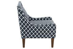 Scarlett Swoop-Arm Chair, Navy Diamond