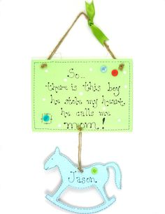 Handmade Personalised Wooden Rocking Horse Sign / by 2good2beWood