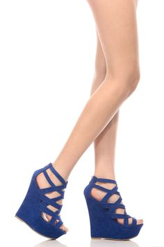 This pair features a faux suede material, open toe cut, strappy design, rear zipper for closure and cushioned insoles. Wear these wedges with your favorite body con for a casual look.-True to size Cute Wedges Shoes, Blue Wedge Shoes, Royal Blue Shoes, Platform Wedges Shoes, Strappy Shoes, Wedge Boots, Womens Shoes Wedges, Wedge Sandals, Flats