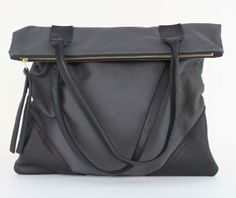 So chic! Large Leather & Canvas Tote