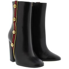 Gucci Boots & Booties - Malaga Kid Nappa Boots Nero - in black - Boots... ($810) ❤ liked on Polyvore featuring shoes, boots, black, studded shoes, black zipper boots, studded zipper boots, leather sole boots and zip boots