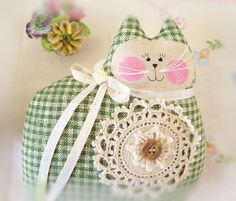 Cat Pillow Doll Cloth Doll 7 inch Olive Green Check Fabric