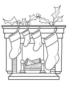 free printable christmas coloring sheets for kids fireplace image - Google Search