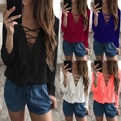 Celmia Sexy Top Women Chiffon Blouse 2018 Summer Autumn Lace Up V Neck  Ruffles Long Sleeve Shirt Casual Plus Size Blusa Feminina 6e4db2afb782