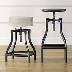Turner Black Adjustable Backless Bar Stools and Linen Cushion