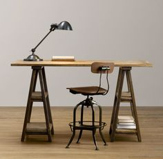 Vintage Sawhorse Desk - Doobybrain.com