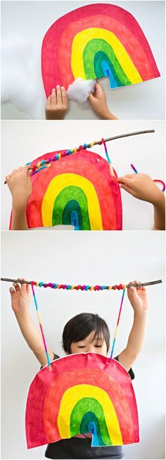 Kid Made Puffy Paper Rainbow Stick Mobile. Adorable way to show off your kids art!