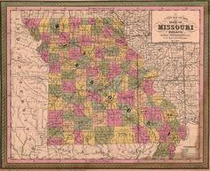 Historic Map Reprints: Missouri State 1850-51 Historic Map by Thomas, Cowperthwait, Version B, Reprint