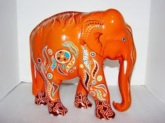 Handpainted Elephant Spot the Hand Painted by ReuseRecycleRethink,