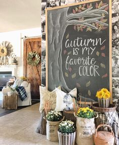 """Fall Chalkboard """"Autumn is my favorite Color"""" and DIY Barn Door Soft Fall Palette Fall Chalkboard Art, Kitchen Chalkboard, Chalkboard Drawings, Chalkboard Lettering, Chalkboard Designs, Chalk Drawings, Chalkboard Paint, Chalkboard Ideas, Halloween Chalkboard Art"""