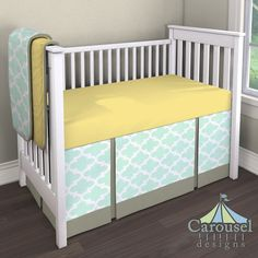 Crib bedding in Solid Banana, Mint Quatrefoil, Solid Stone Sateen. Created using the Nursery Designer® by Carousel Designs where you mix and match from hundreds of fabrics to create your own unique baby bedding. #carouseldesigns
