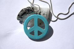Turquoise Peace Sign Necklace l Handmade l by WanderWithLovex