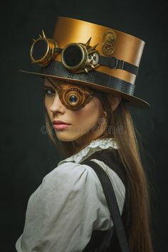 Close-up portrait of a beautiful girl steampunk, hat and eyecup. Close-up portra , #SPONSORED, #beautiful, #portrait, #Close, #girl, #eyecup #ad