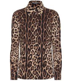 Shop Leopard-print silk shirt presented at one of the world's leading online stores for luxury fashion. Nike Sweatshirts, Dolce & Gabbana, Satin Top, Silk Satin, Balenciaga, Burberry Print, Leopard Jacket, Gucci, Satin Shirt