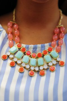 All About Us Necklace: Coral/Mint