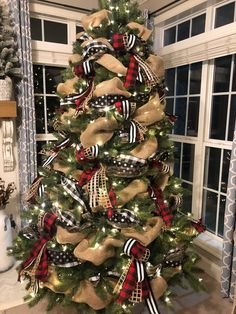 Buffalo check Christmas tree with base and accent ribbon