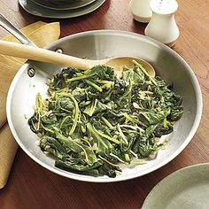 Sautéed Greens | Don't be afraid to try a fresher, quicker recipe for this Southern dietary staple. Sautéed Collard Greens are packed with flavor from chopped ginger and spicy serrano peppers. Plus, they're better for you and cook in just 26 minutes.
