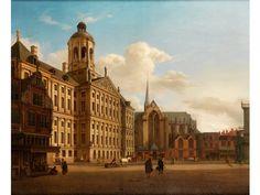 BLICK AUF DAS RATHAUS AUF DEM DAMM IN AMSTERDAM Öl auf Leinwand. Doubliert. 73 x 88 cm. Gerahmt. Nach dem gleichnamigen Gemälde von Jan van der Heyden, das...