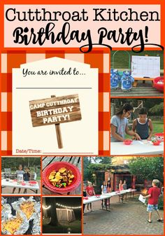 Everything you need to host a Cutthroat Kitchen birthday party at home! This post includes free printable birthday party invites, ideas for cooking competitions and sabotages and lots of tips on how to make your Cutthroat Kitchen Birthday Party awesome Birthday Party At Home, Birthday Party Games, First Birthday Parties, Birthday Party Decorations, Birthday Party Invitations, Girl Birthday, Invites, Birthday Cakes, 11th Birthday