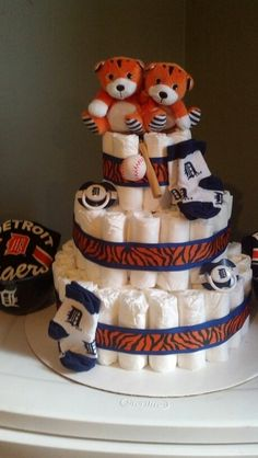 Twin Boys Detroit Tigers Diaper Cake! ~ Baby Shower Gift Idea