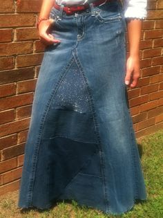 Ladies Long Handmade Miss Me Jean Skirt by whimsicaljeansnsuch, $45.00