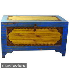 Hand-crafted Teak Wood Trunk/ Toy Chest (India)