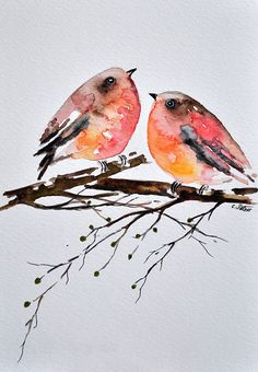 ORIGINAL Watercolor Bird Painting, Colorful Robins 6x8 Inch SALE
