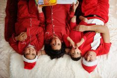 There's always one in the bunch... adorable family christmas card photo idea. Matching santa pajamas