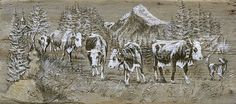 Loulette : repro poya bois tradition Suisse. Sculpture Art, Sculptures, Cows, Art Nouveau, Moose Art, Articles, Painting, Black And White, Deco
