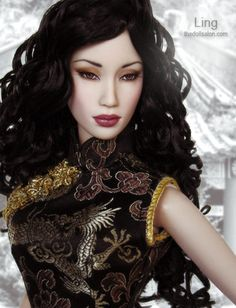 Ling SE Asian doll headshot jet black curls