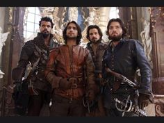 The Musketeers - Series II BtS filming via Jessica Pope's Twitter (Porthos, D'Artagnan, Aramis & Athos) (#Musketeers 2. Last Day. What a blast it's been..... Series II all safely gathered in. x )