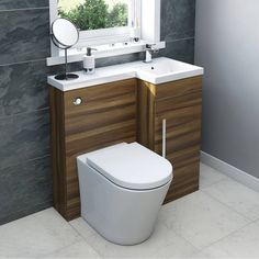 MySpace Walnut Combination Unit with Arc Back to Wall Toilet
