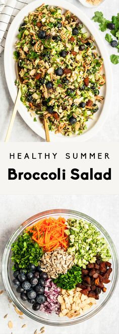 Gesunder Sommerbrokkolisalat Jun 18 Healthy broccoli salad recipe made with simple ingredients like fresh blueberries, carrots, sweet dried apricots, toasted almonds and crunchy s… Vegetarian Broccoli Salad, Vegetarian Recipes, Healthy Recipes, Broccoli Cauliflower, Broccoli Recipes, Healthy Summer, Summer Salads, Spinach Strawberry Salad, Sprouts Salad
