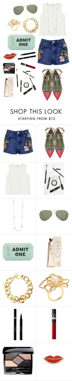 """Admit one"" by julie-dom ❤ liked on Polyvore featuring Topshop, Valentino, Monki, Sigma Beauty, Ray-Ban, Kate Spade, Pluma, Giovane, Sisley Paris and NARS Cosmetics"