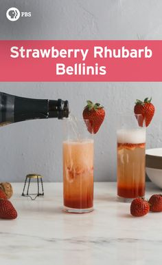 This bellini starts with a rhubarb strawberry puree that's strained then combined with very cold sparkling wine or champagne. #Recipe from PBS Food.