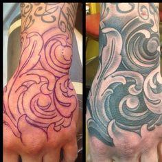 Russ Abbott - Ink & Dagger. Atlanta, Georgia.   Hand Tattoo. Filigree. Ornate.