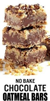 No Bake Chocolate Oatmeal Bars - The only thing easier than making these no-bake chocolate oatmeal bars is eating #food #dessert #cake #chocalate #recipes