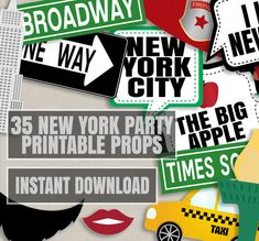 35 New York Party Photo Booth Props, New yorker themed party props, love new…