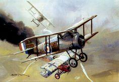Sopwith Camel vs two Fokker DVIIs